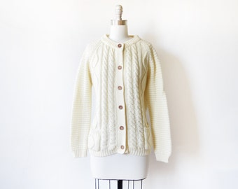 cable knit cardigan, vintage fisherman's sweater, 70s cream cardigan, extra large xl