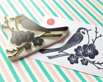 spring bird rubber stamp. bush warbler hand carved stamp. japanese apricot tree stamp. woodland stamp. birthday wedding scrapbooking. XL