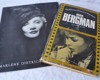 Two Books on Movie Star Legends/Marlene Dietrich and Ingrid Bergman/Vintage 1950s and 1970s/Photographic Essay and Biography
