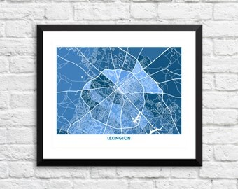 Lexington Map Print.  Choose your colors and size.  Perfect Gift for your University of Kentucky Wildcat.