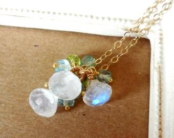 Gold Necklace Blue Moonlight - 14k Gold Filled