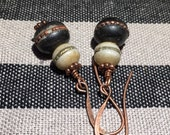 Earrings India beads with fire torched hearts
