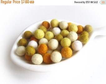 ON SALE 15% OFF Felt Balls Sunflower Color Mix - 50 Pure Wool Beads 10mm  (W200C)