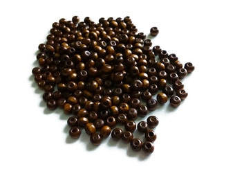 Brown Wood Beads 6mm round 150pcs - Natural wooden beads  #PB206C