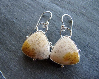 Earrings of Fossil Coral and Sterling Silver