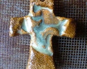 Artisan Celadon Rustic Carmel Handmade Ceramic Clay Pottery Cross Pendant