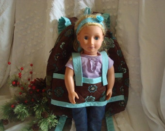 Doll Carrier in Chocolate with Aqua accents.