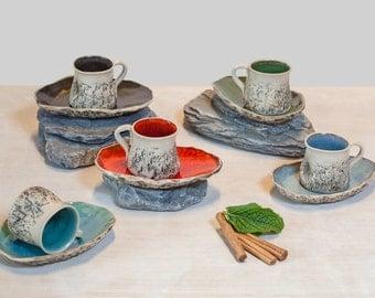 Blue Handmade Espresso Cup, Wheel thrown cup, Handmade mini mug, cup and saucer, Macchiato Cup, Arabic coffee cup, Birthday wedding gift