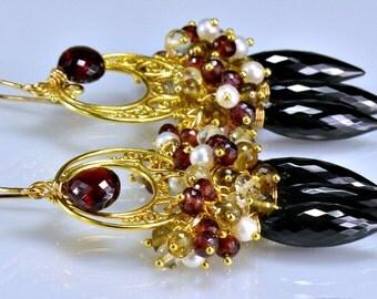 Champagne Topaz Black Spinel Chandelier Earrings, Rubilite Garnet Gemstone 14k Gold Filled Wire Wrapped Earrings