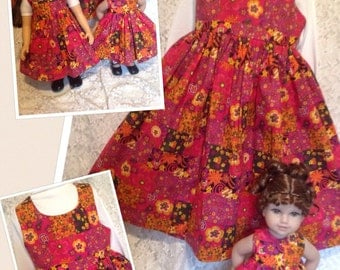 SALE - READY to SHIP * Maroon Garden * Matching dresses for child sz 7 8 9 and American Girl, My Twinn Bitty Baby doll - sewnbyrachel