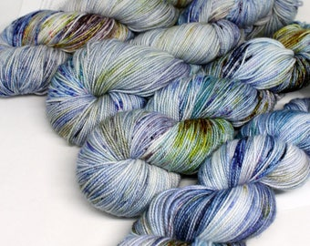Hand Dyed  Speckled Sock Yarn - SW Sock 80/20 - Superwash Merino Nylon - 400 yards  - Dirty Denim