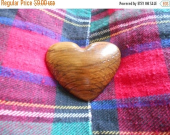 1 DAY SALE handmade Wooden Heart Brooch, Wood Pin brown tones