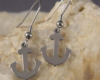 Stainless Steel Flat Anchor Earrings