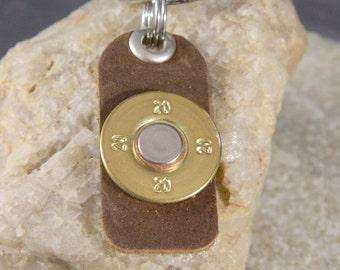 Rustic Leather Bullet Keyring