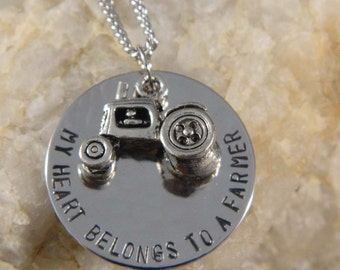 My Heart Belongs to a Farmer Handstamped Necklace