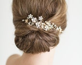 Gold Bridal Comb, Pearl and Crystal Comb, Wedding Hair Accessory