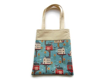 Small Fabric Birdhouse Gift Bag - Goodie Bag - Mini Tote