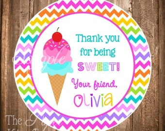 Personalized Ice Cream Party Stickers or Gift Tags, PRINTABLE Ice Cream Stickers, Ice Cream Party FavorS, Ice Cream Cone , Digital File