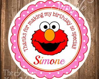 Elmo Gift Tags, PRINTABLE Elmo Hang tags or Stickers, Girl Elmo Labels, Elmo Favor Tags