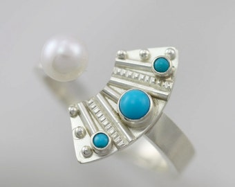 Totem with 3 Stones Split Ring and Pearl (Turquoise) in Sterling SIlver