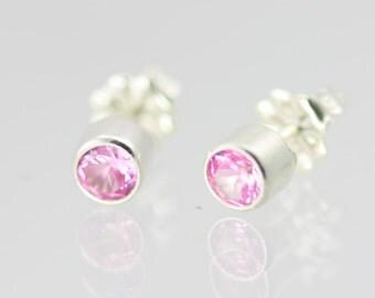 Birthstone Drop Studs Sterling Silver (Pink Tourmaline)