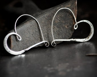 heart hoops silver, forged sterling hoops, hammered hoops, heart shape earrings, ready to ship, in stock