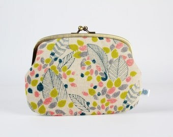 Metal frame purse with two sections - Spring garden - Maxi siamese / Slate blue lime green peachy pink leaves / japanese linen blend