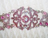 Signed VCLM Pink Crystals Victorian Style Bracelet
