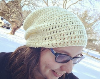 Slouchy hat yellow spring accessories ladies beanie handmade