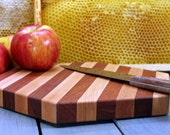 Hexagon Striped Cutting Board or Serving Platter  maple and cherry hardwood with FREE wood conditioner