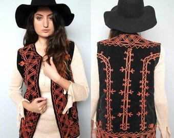 pathways -- vintage indian velvet embroidered vest S