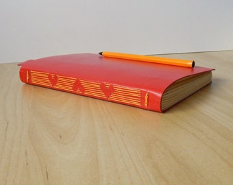 Red Leather Journal Sketchbook in longstitch with Heart Design - Wedding Guest Book