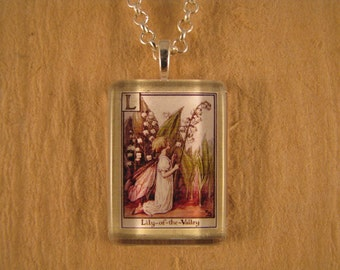 Lily-of-the-Valley, Flower Fairy Pendant, Letter L Pendant, Cicely Mary Barker, Small Flat Rectangle, Glass Pendant, Alphabet Jewelry