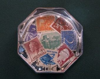 Stamp Collector Gift, Stamp Paperweight, Postage Stamps, Octagon Paperweight, Glass Paperweight, Desk Accessory, Home Decor
