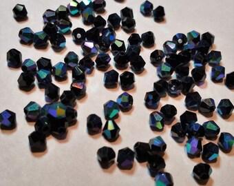 Bicone Crystals / 4mm - (100 Beads) - Jet Black AB