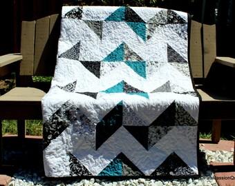 Chevron Quilt Black White Turquoise, Black White Quilt, Quilted Chevron Blanket, Modern Chevron Quilt, Handmade Quilt, Dorm Quilt