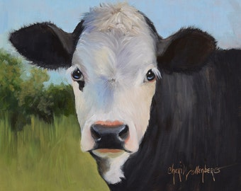 Small Original Cow Painting, FRAMED 11x14 Oil Painting,September Susie, Animal Art by Cheri Wollenberg