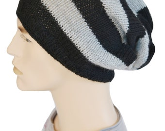 Slouchy Hat, Fall Hat, Mens Slouch Hat, Oversized Hat, Knit Hat, Womens Slouch Hat, Knitted Slouchy Beanie, Black and Gray,Tam, Skater Hat