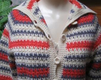 Vintage retro midcentury striped cardigan sweater, preppy striped orange grey beige cardigan, striped hand knit cardigan sweater sz S or M