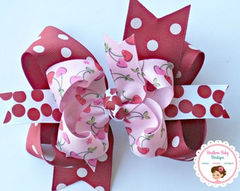 NEW----Big Boutique Triple Layered Hair Bow Clip---Fancy Cherries