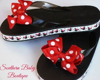 NEW ITEM----Boutique Girls Bow Flip Flops----You Pick Size-----Miss Minnie