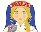Latvian Girl Matryoshka Art Print, Kids Wall Art