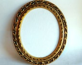 Vintage Hollywood Regency Gilded Carved Wood Oval Picture Frame w/ Blank Fredrix Canvas - New Old Stock Uniprise 8 x 10 Ornate Frame 1960s