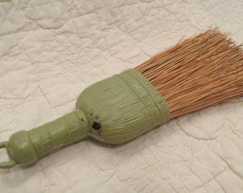 Vintage Straw Whisk Broom with Green top handle mid century