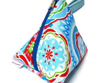 Triangle coin purse, cosmetic bag, gadgets bag, party gift in a bright fun fabric