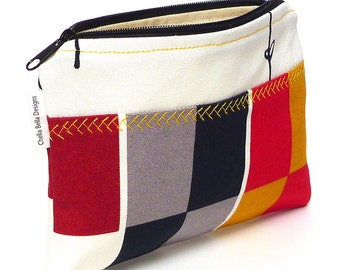 Bold color block cosmetic bag in red, grey, black and golden yellow, make-up bag, gadget bag One of a Kind