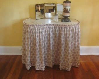 Antique Vanity with Bench and Skirt
