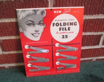 Vintage 1950s/60s Store Advertising Display Card with Finger Nail Files