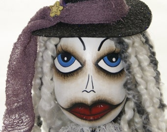 Miss Violet Swamp Witch, Gourd Art Figure Doll ,  Witch Art Doll, OOAK Gourd Figure Art