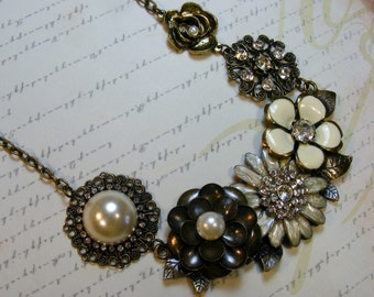 Flower Garden-brass necklace with pendants, pearls and rhinestones, asymmetrical, 21 3/4 inches or 55 cm